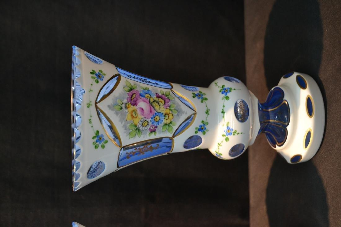 (Pr) BLUE BOHEMIAN VASES WITH ENAMEL DECORATIONS - 3