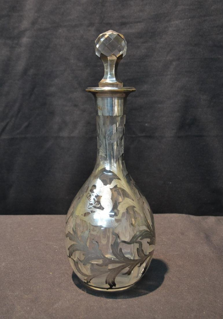 STERLNG OVERLAY DECANTER WITH FOLIATE DECORATIONS