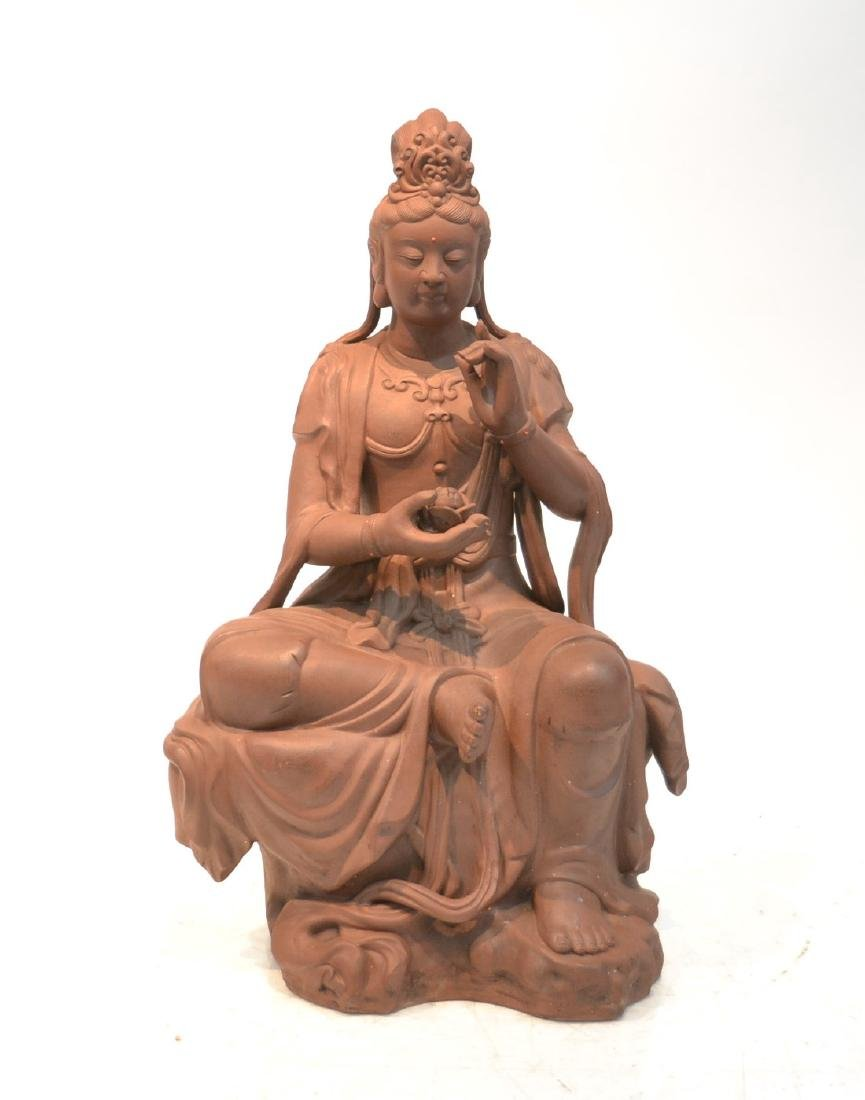 "LARGE 32"" CHINESE TERRACOTTA GODDESS"
