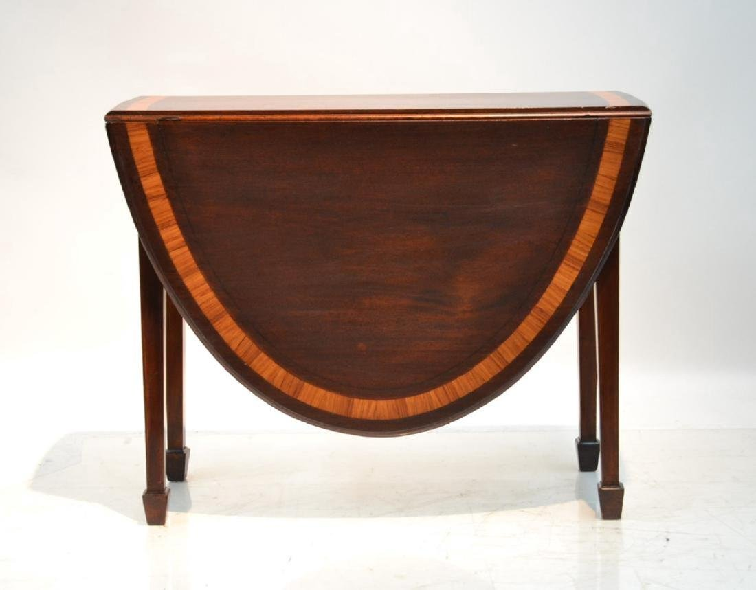 BANDED MAHOGANY DROP LEAF TABLE
