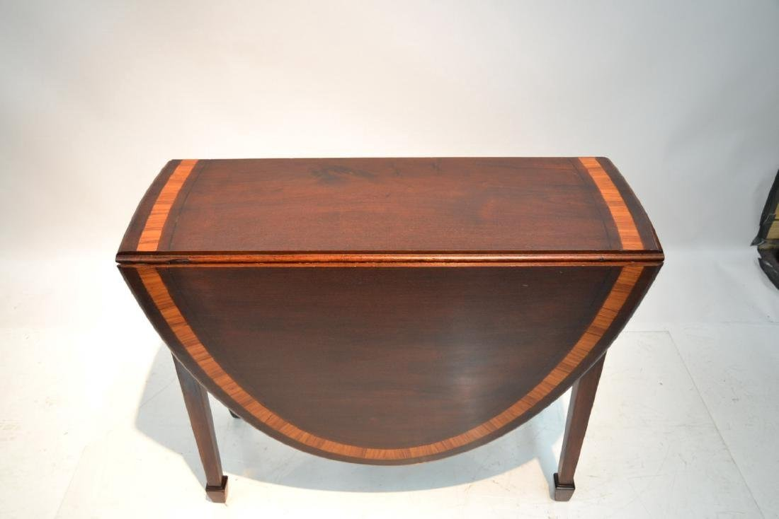 BANDED MAHOGANY DROP LEAF TABLE - 5