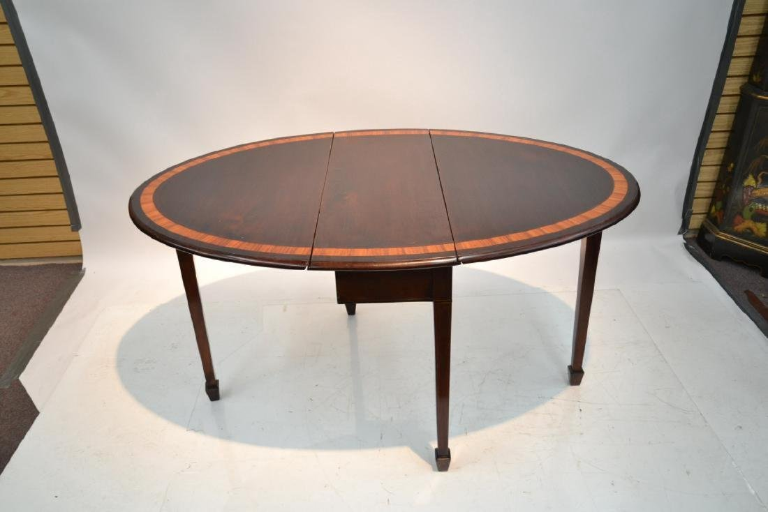 BANDED MAHOGANY DROP LEAF TABLE - 6