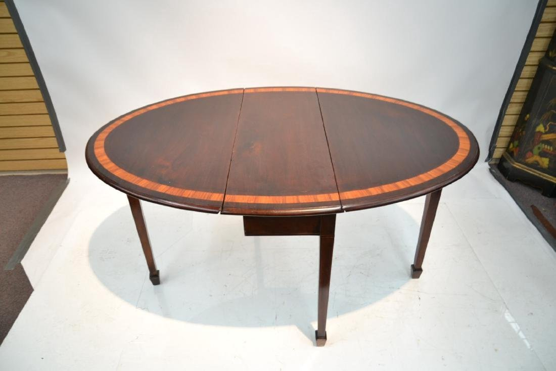 BANDED MAHOGANY DROP LEAF TABLE - 9