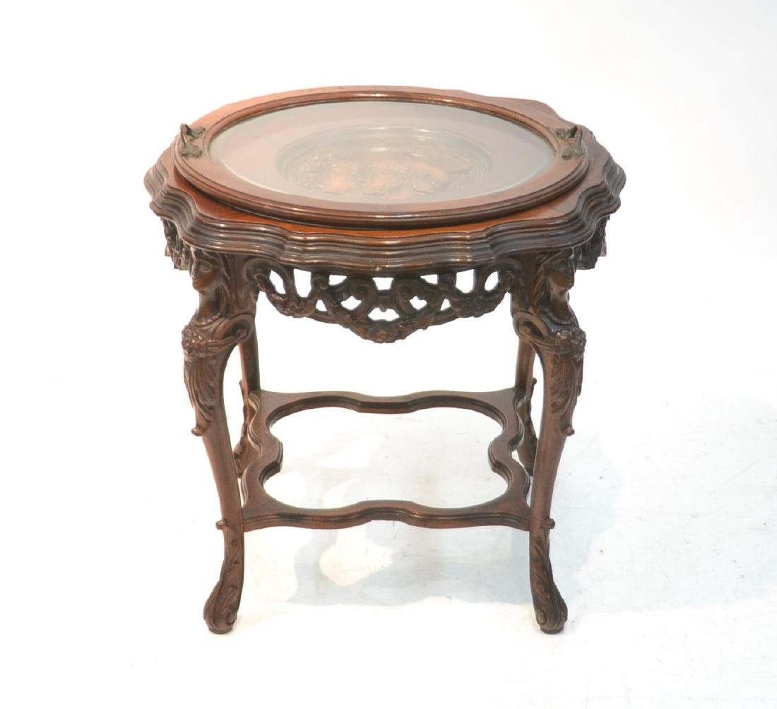 MAHOGANY TRAY TABLE WITH CARVED ROMAN PORTRAIT