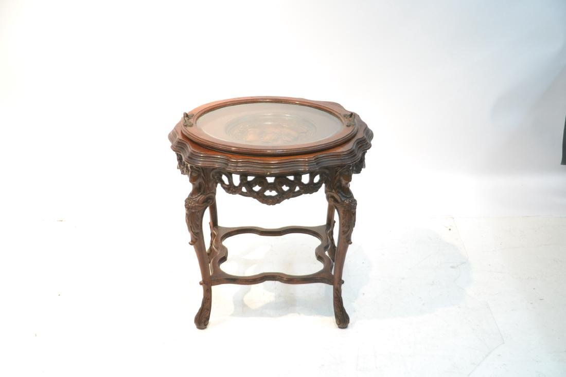 MAHOGANY TRAY TABLE WITH CARVED ROMAN PORTRAIT - 2