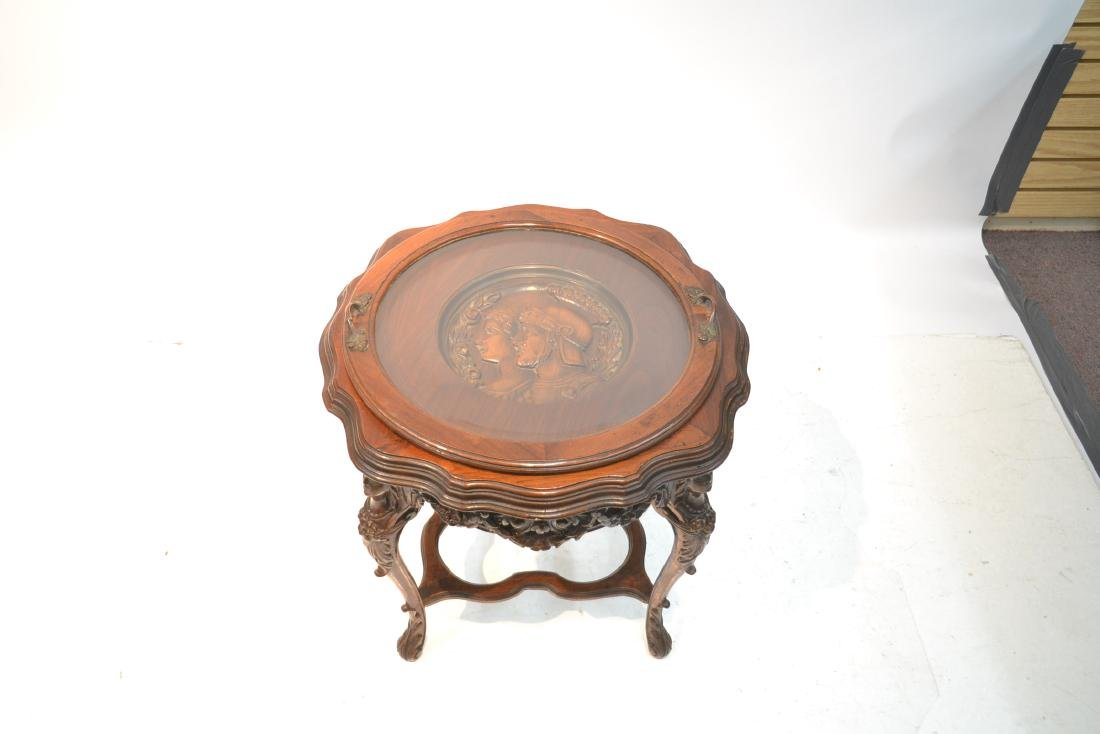 MAHOGANY TRAY TABLE WITH CARVED ROMAN PORTRAIT - 3