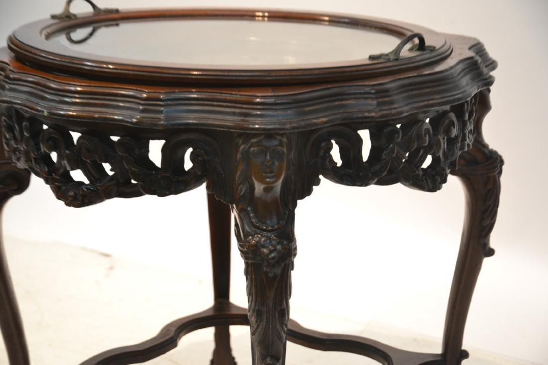 MAHOGANY TRAY TABLE WITH CARVED ROMAN PORTRAIT - 5