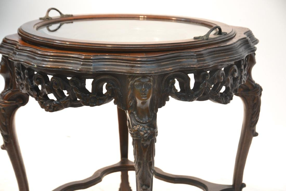 MAHOGANY TRAY TABLE WITH CARVED ROMAN PORTRAIT - 6