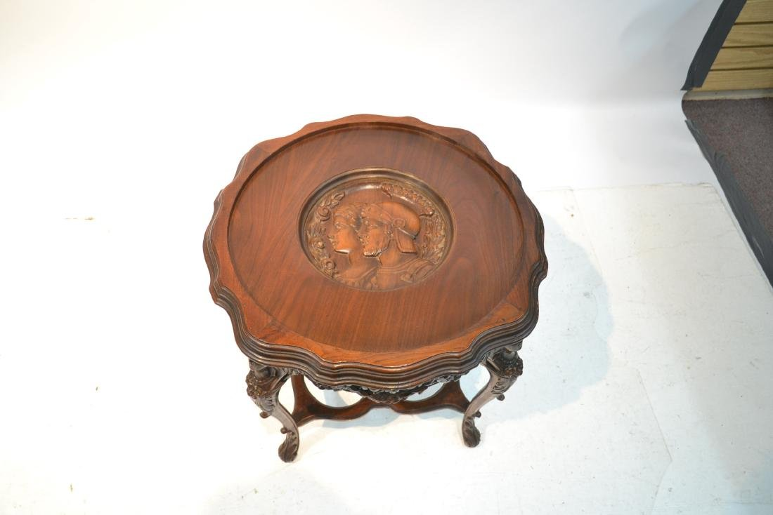 MAHOGANY TRAY TABLE WITH CARVED ROMAN PORTRAIT - 7