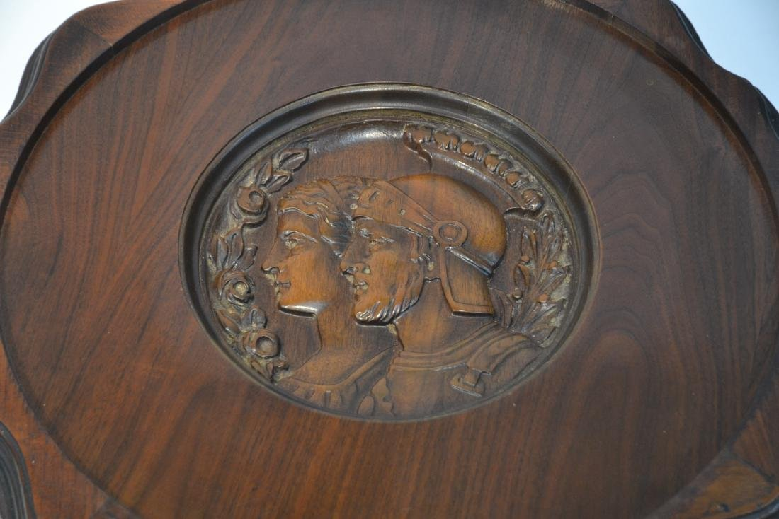 MAHOGANY TRAY TABLE WITH CARVED ROMAN PORTRAIT - 8