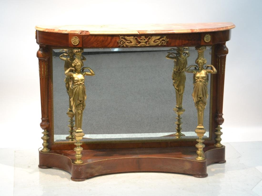 FRENCH MARBLE TOP CONSOLE WITH FULL BODIED