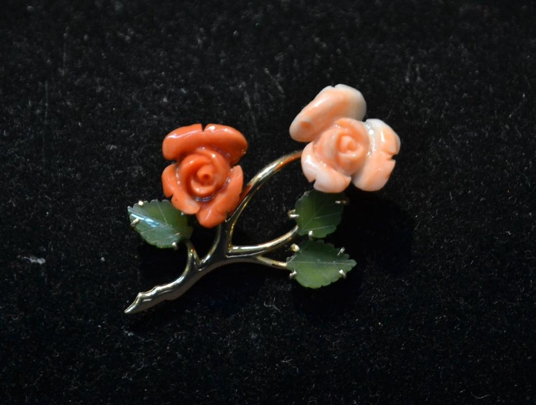 14kt CORAL & JADE FLOWER PIN - BROOCH
