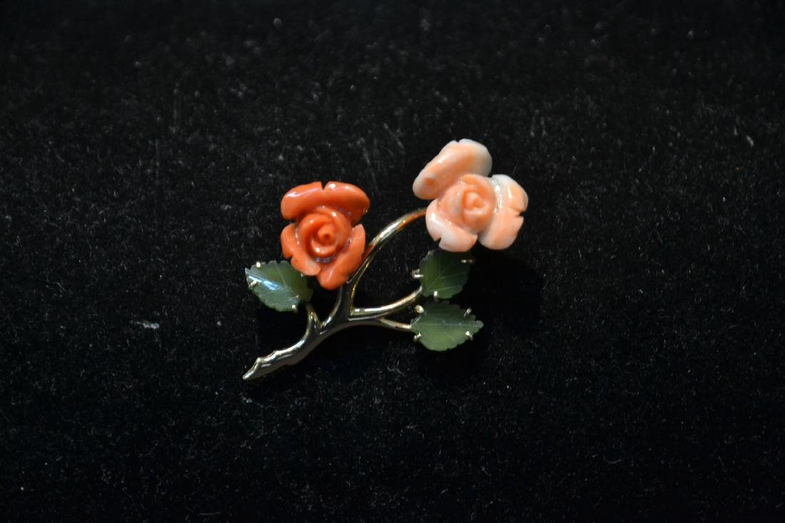 14kt CORAL & JADE FLOWER PIN - BROOCH - 2