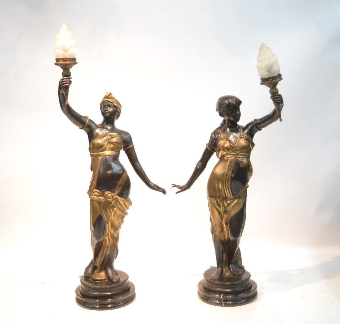 (Pr) LARGE 2-TONE BRONZE FIGURAL TORCHIERE LAMPS