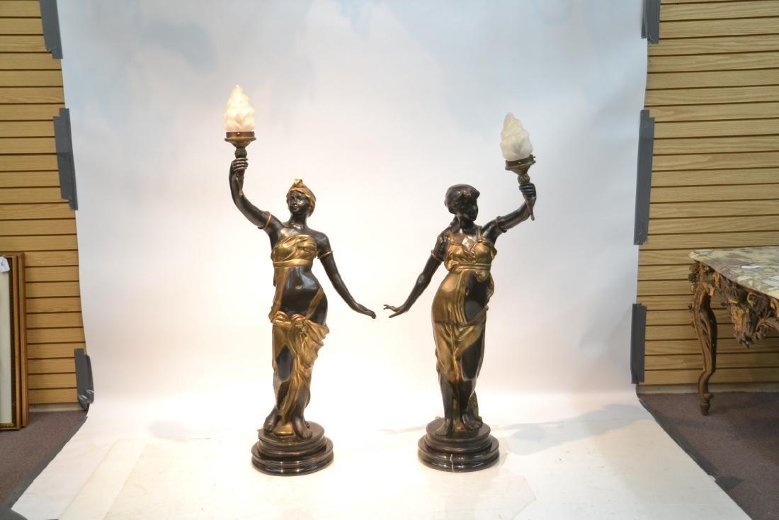 (Pr) LARGE 2-TONE BRONZE FIGURAL TORCHIERE LAMPS - 2