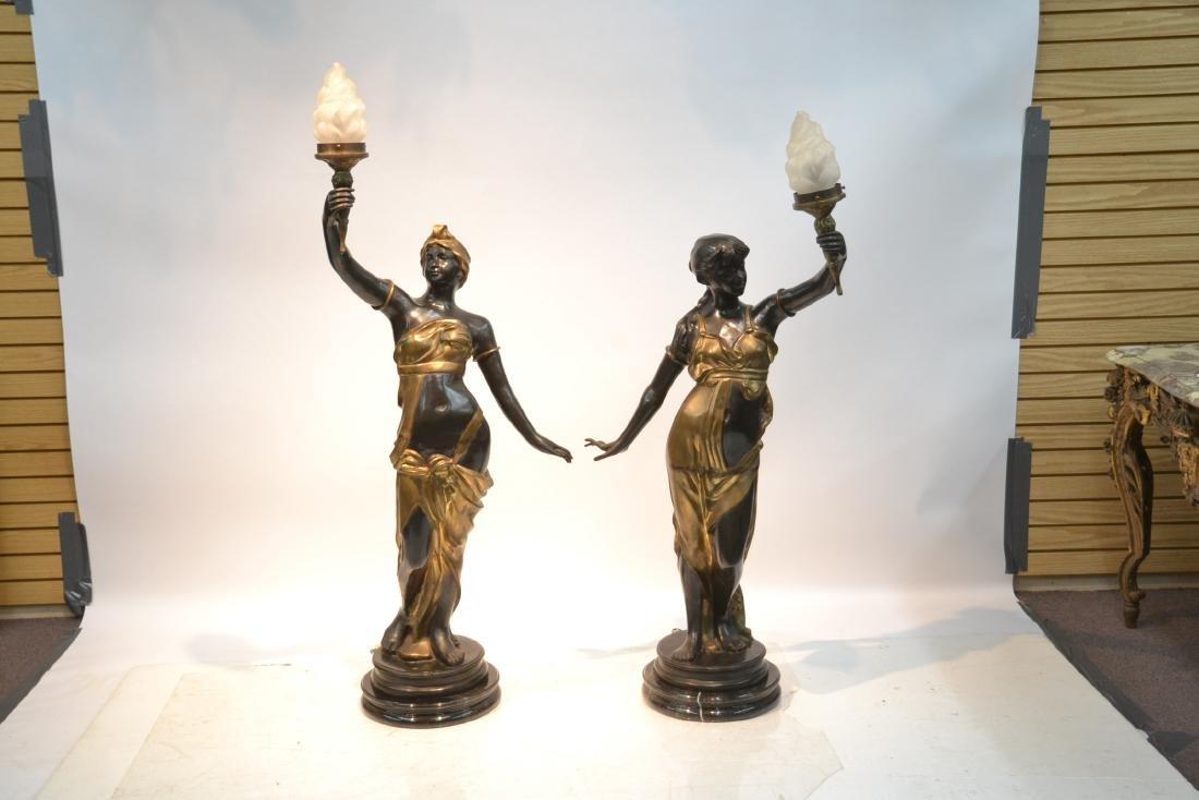 (Pr) LARGE 2-TONE BRONZE FIGURAL TORCHIERE LAMPS - 3