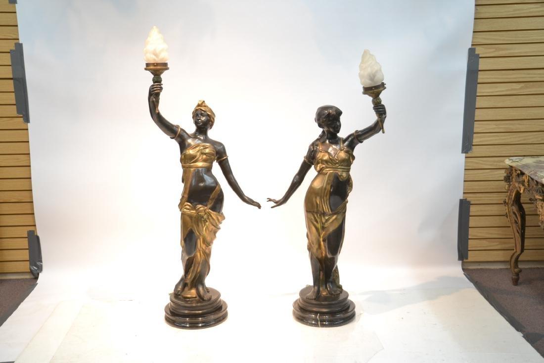 (Pr) LARGE 2-TONE BRONZE FIGURAL TORCHIERE LAMPS - 4