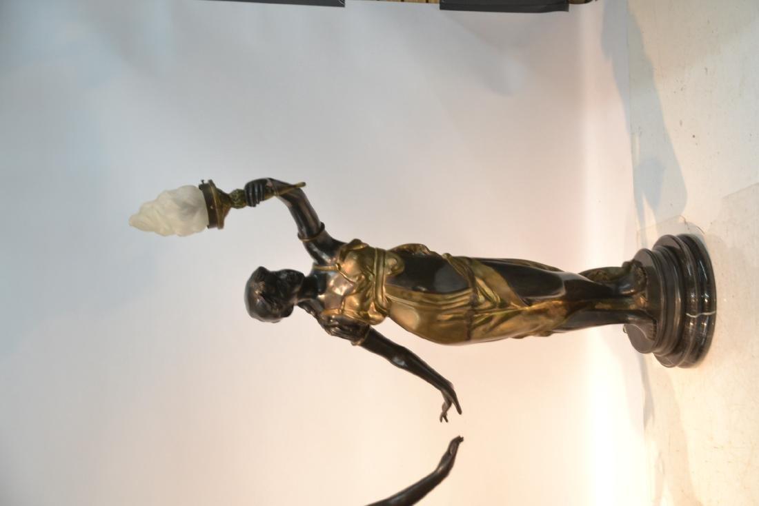 (Pr) LARGE 2-TONE BRONZE FIGURAL TORCHIERE LAMPS - 5