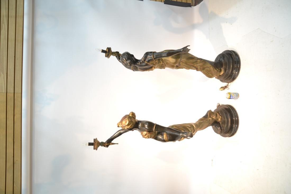 (Pr) LARGE 2-TONE BRONZE FIGURAL TORCHIERE LAMPS - 7
