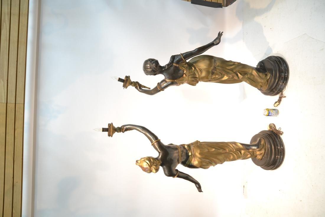 (Pr) LARGE 2-TONE BRONZE FIGURAL TORCHIERE LAMPS - 8