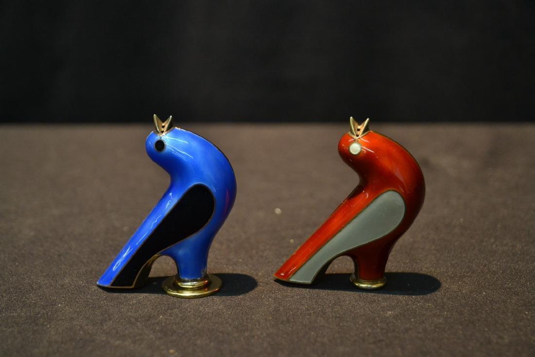 (Pr) JACOB TOSTRUP , NORWAY DECO ENAMEL BIRD FORM - 2