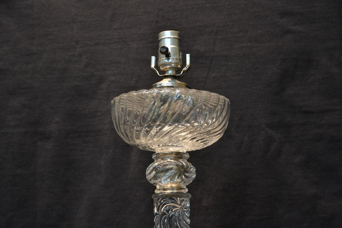 BACCARAT CUT GLASS SWIRL COLUMN OIL LAMP - 4