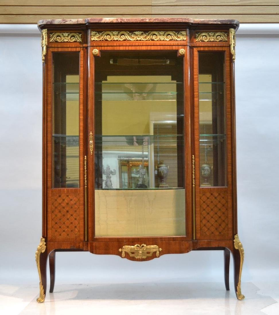 19thC FRENCH PARQUETRY INLAID CHINA CABINET