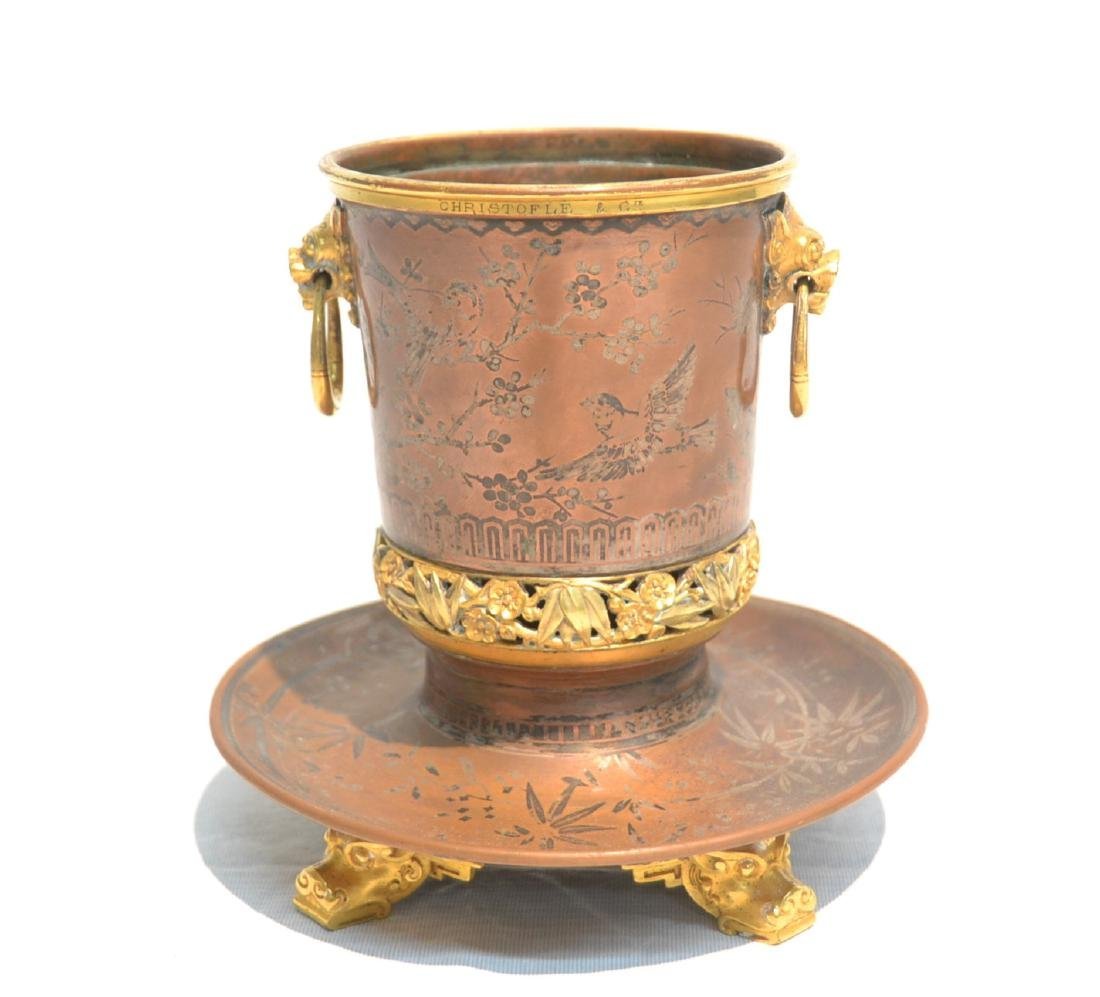 CHRISTOFLE & Cie MIXED METAL CACHE POT WITH