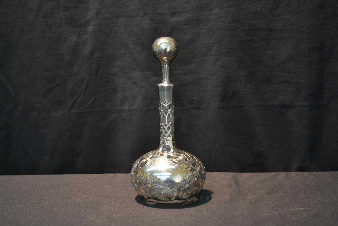 """STERLING OVERLAY DECANTER - 4 1/2"""" x 11"""" - 2"""