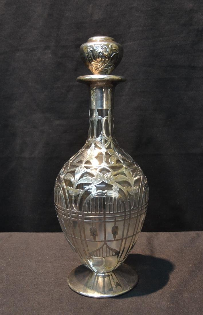 BLACK STARR & FROST STERLING OVERLAY DECANTER