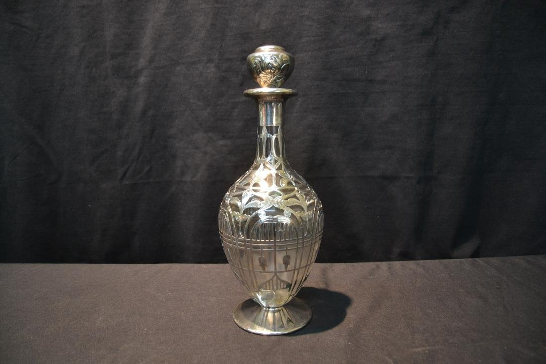BLACK STARR & FROST STERLING OVERLAY DECANTER - 2