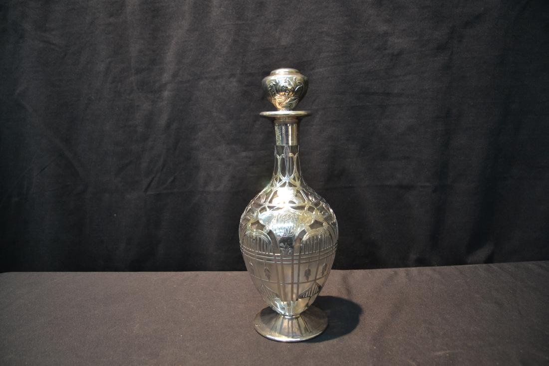 BLACK STARR & FROST STERLING OVERLAY DECANTER - 5