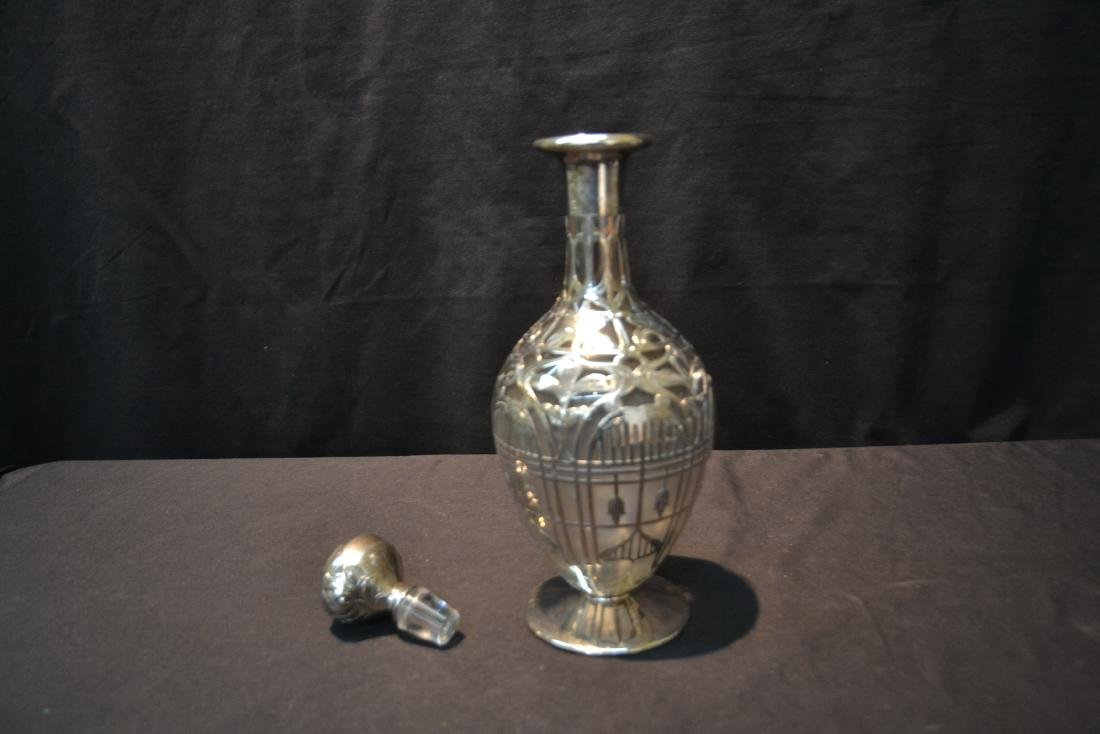 BLACK STARR & FROST STERLING OVERLAY DECANTER - 8