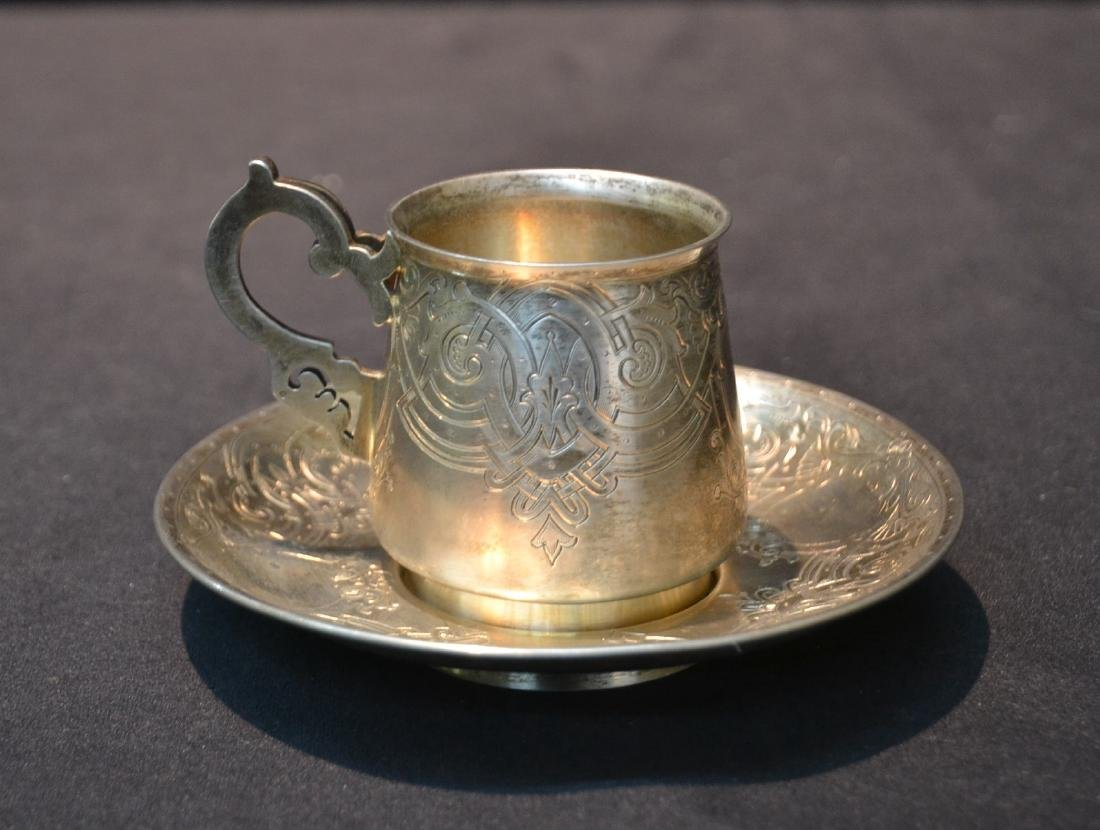 RUSSIAN 84 SILVER ENGRAVED CUP & SAUCER