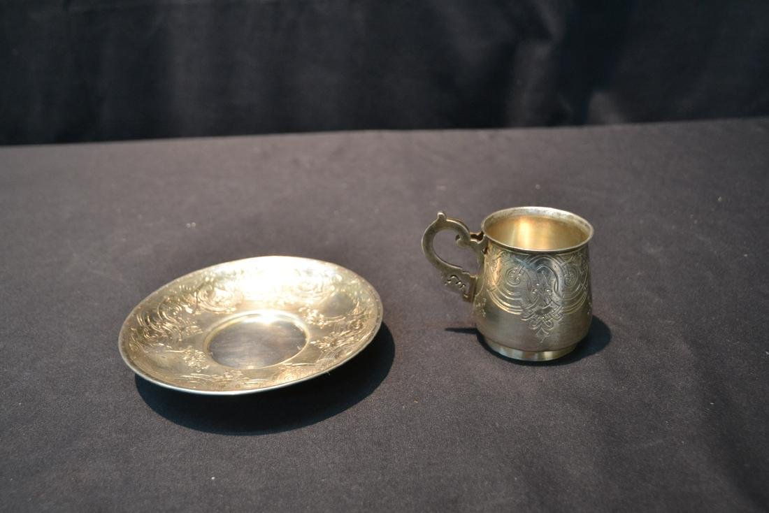 RUSSIAN 84 SILVER ENGRAVED CUP & SAUCER - 2