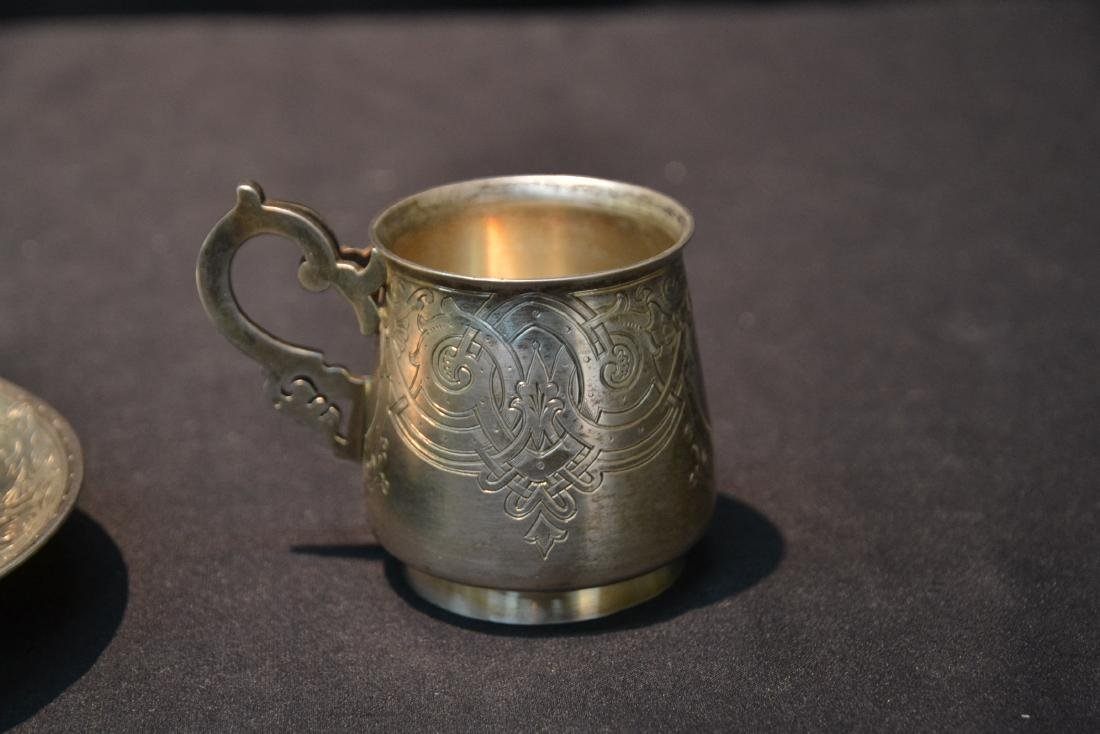 RUSSIAN 84 SILVER ENGRAVED CUP & SAUCER - 3