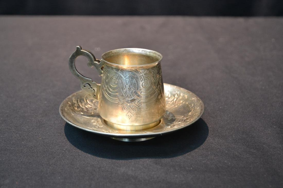 RUSSIAN 84 SILVER ENGRAVED CUP & SAUCER - 8