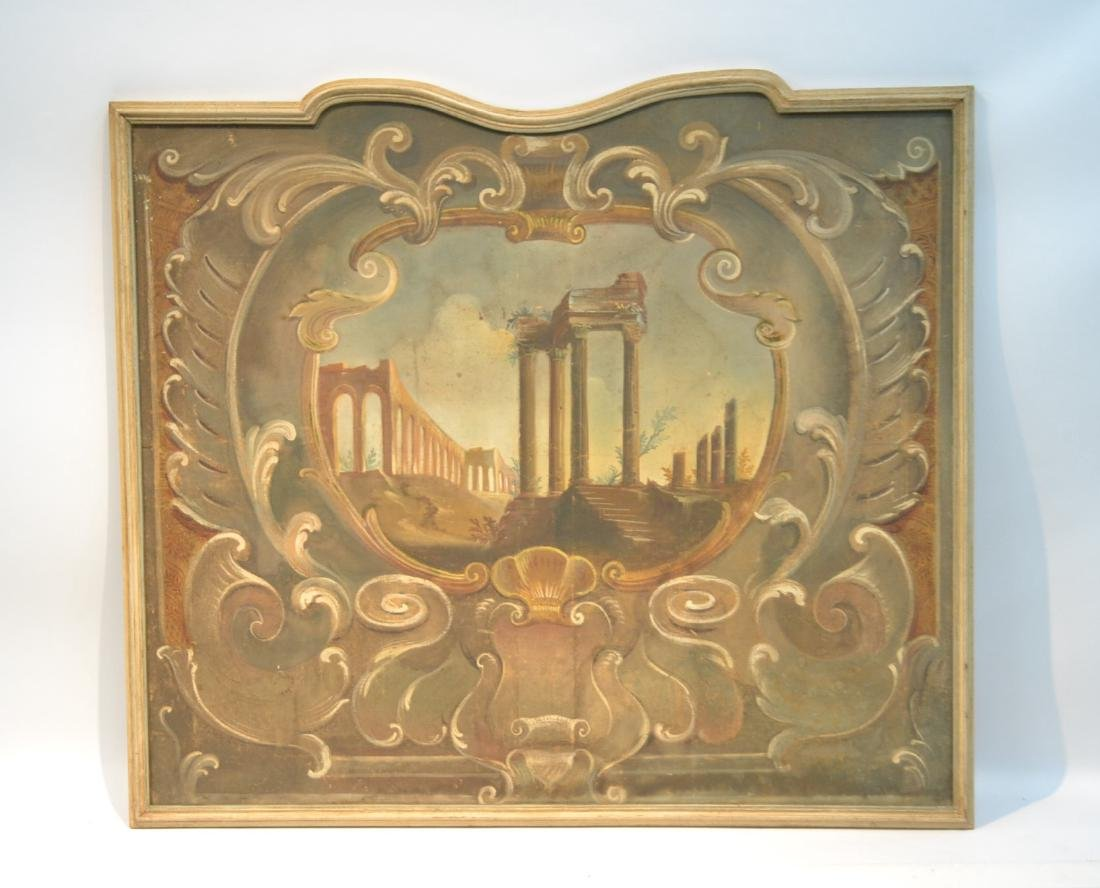 19thC OIL ON CANVAS OF ROMAN RUINS LANDSCAPE