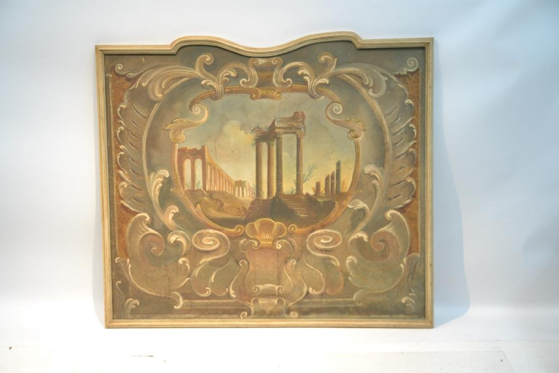 19thC OIL ON CANVAS OF ROMAN RUINS LANDSCAPE - 3
