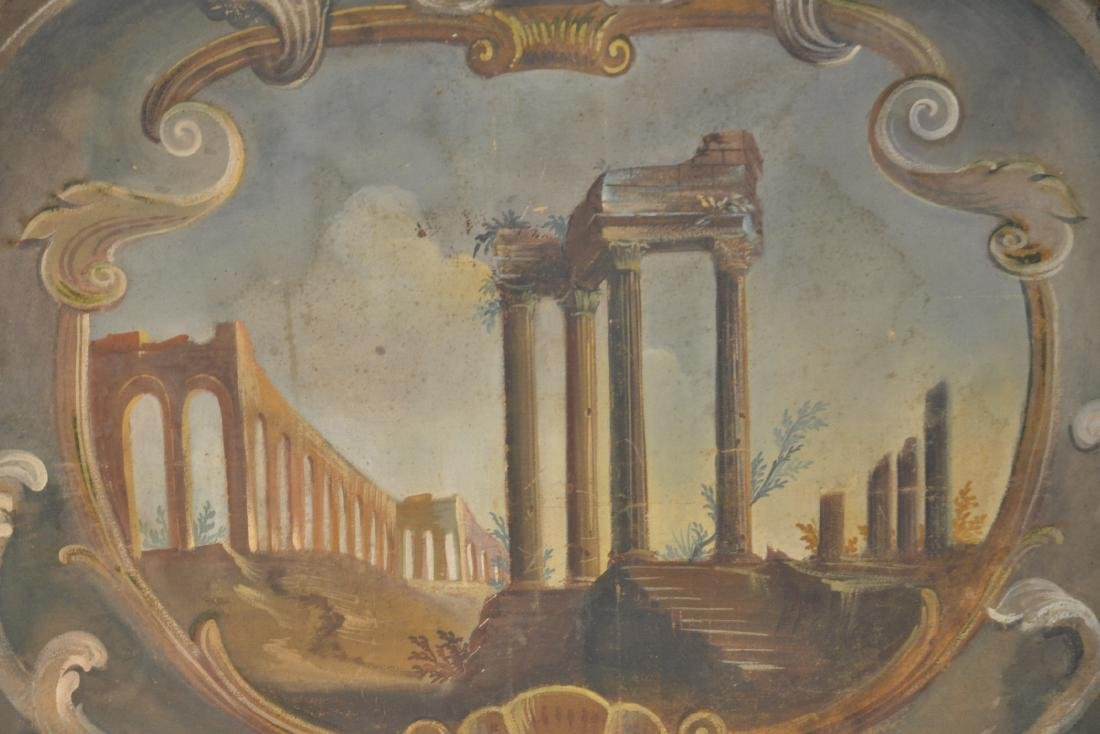 19thC OIL ON CANVAS OF ROMAN RUINS LANDSCAPE - 5