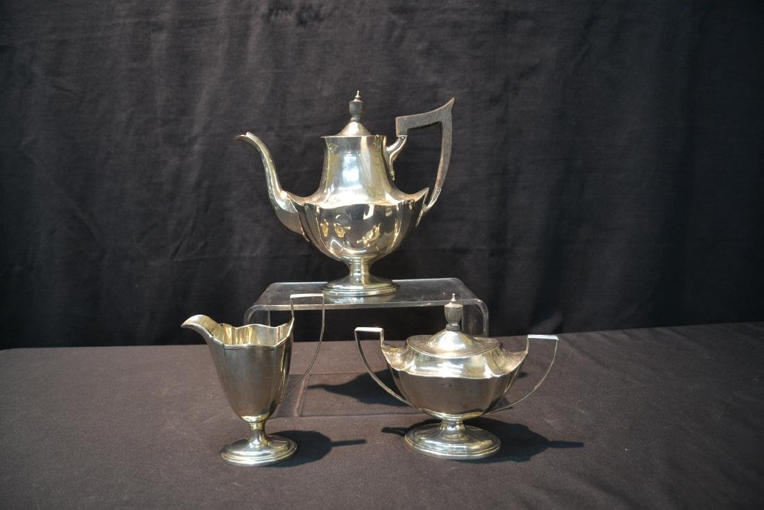 (3)pc GORHAM STERLING SILVER TEA SET - 2