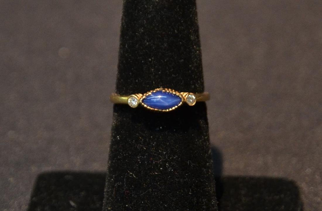 14kt GOLD STAR SAPPHIRE RING WITH (2) DIAMONDS
