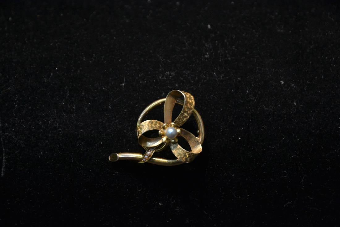 14kt GOLD CULTURED PEARL BOW FORM PIN WITH - 4