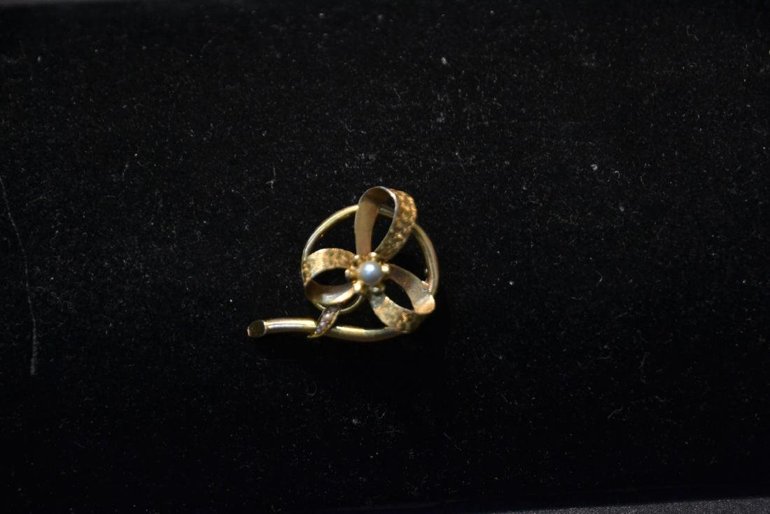 14kt GOLD CULTURED PEARL BOW FORM PIN WITH - 5