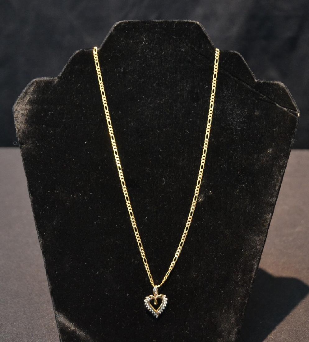 14kt GOLD CHAIN & DIAMOND HEART PENDANT