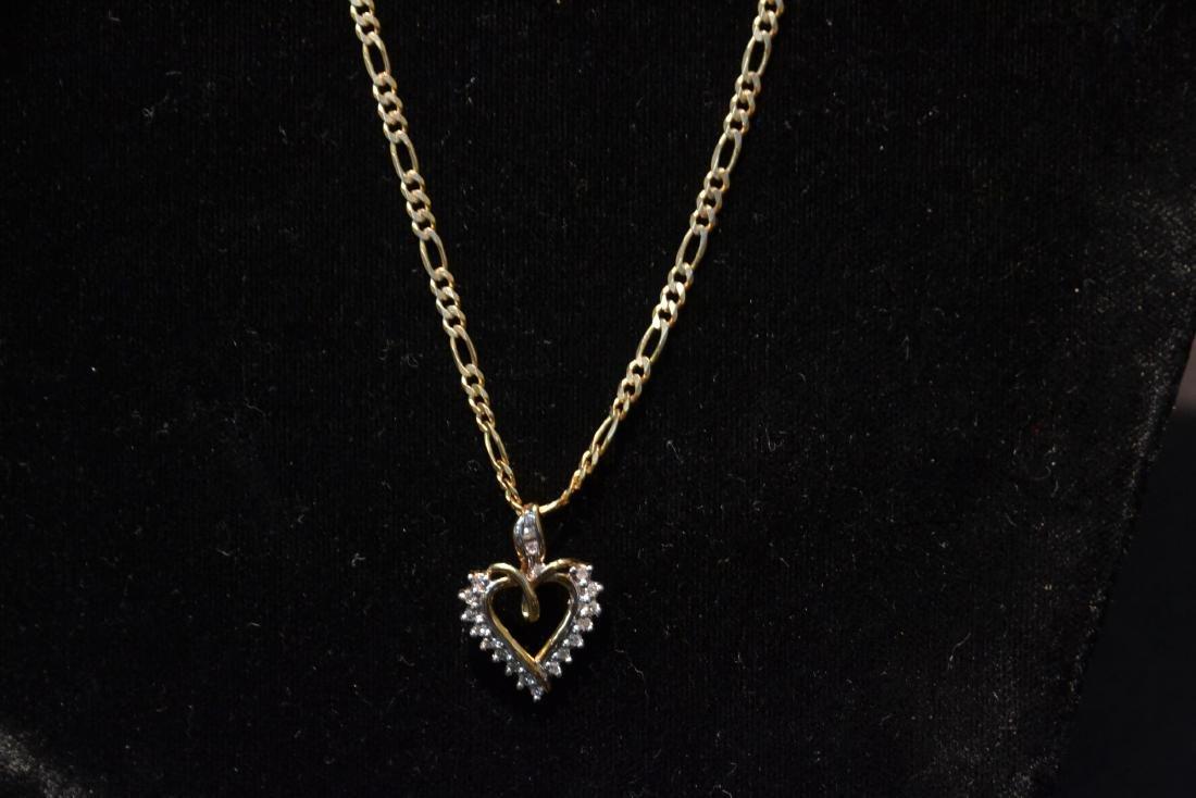 14kt GOLD CHAIN & DIAMOND HEART PENDANT - 2