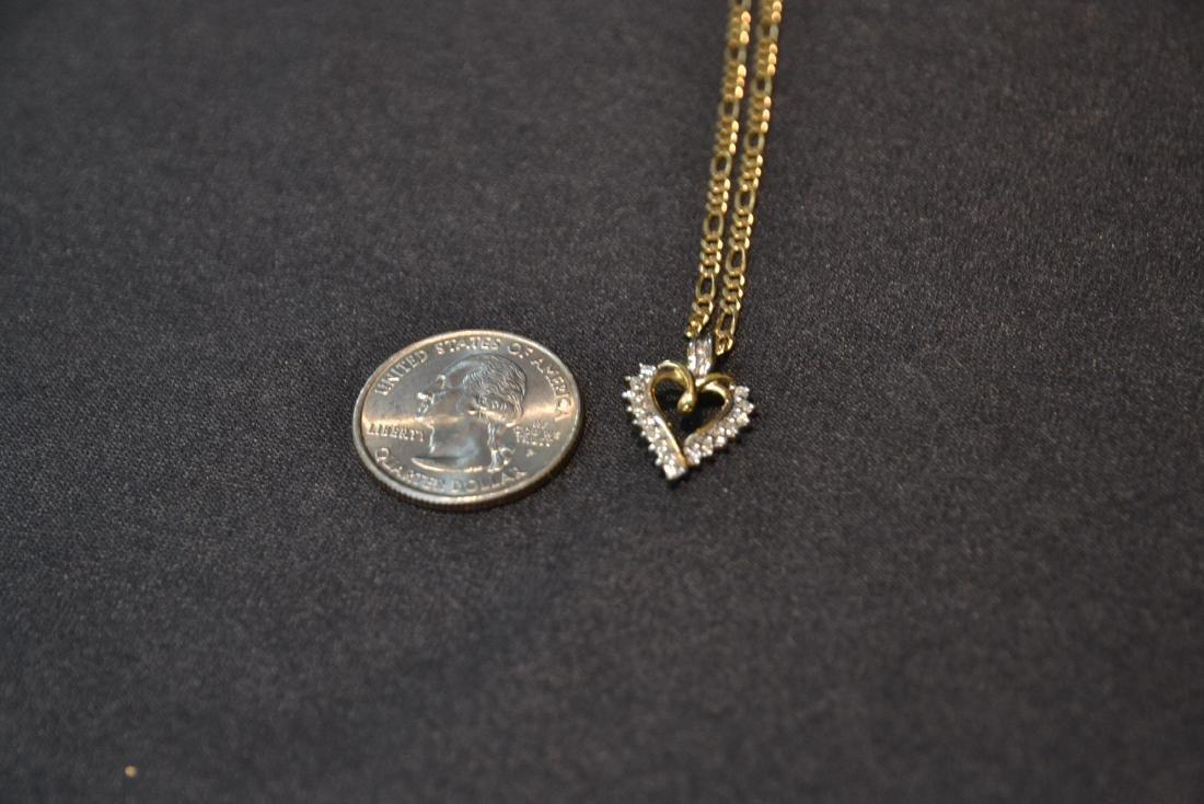 14kt GOLD CHAIN & DIAMOND HEART PENDANT - 3