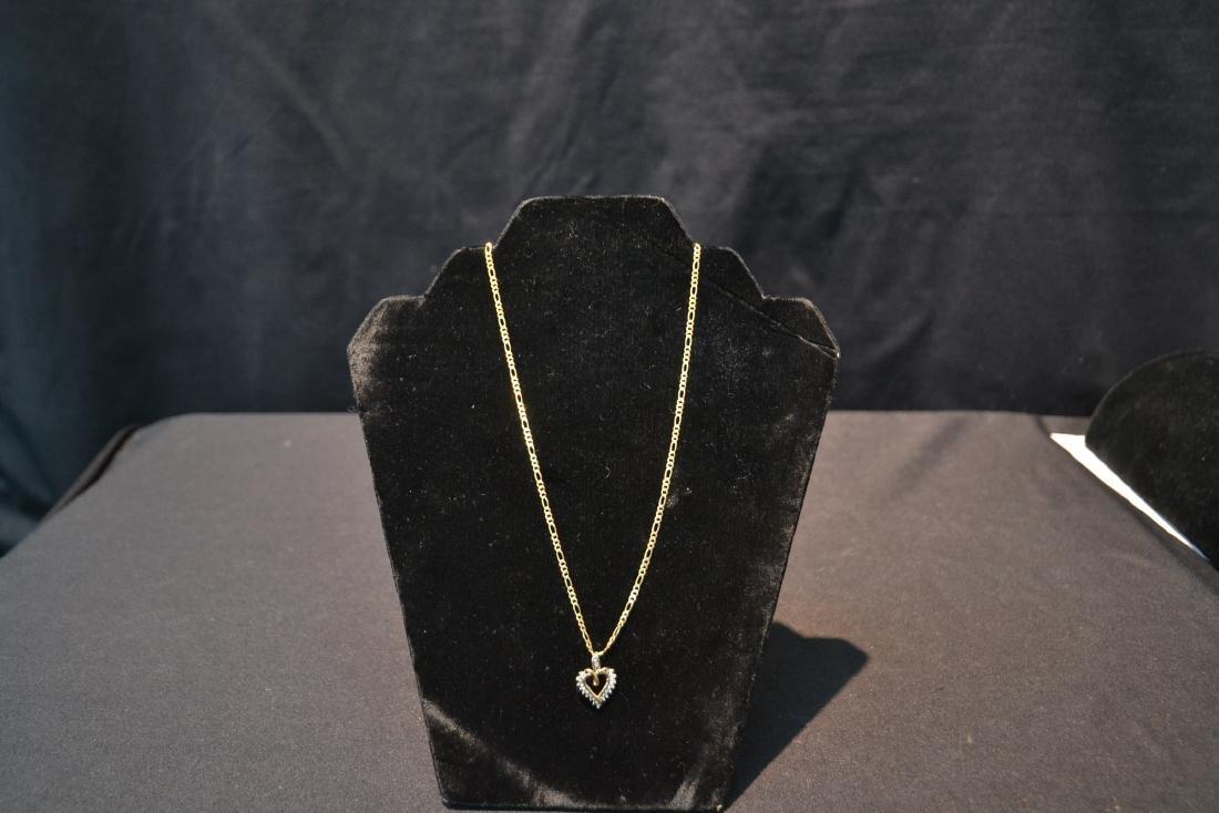 14kt GOLD CHAIN & DIAMOND HEART PENDANT - 4