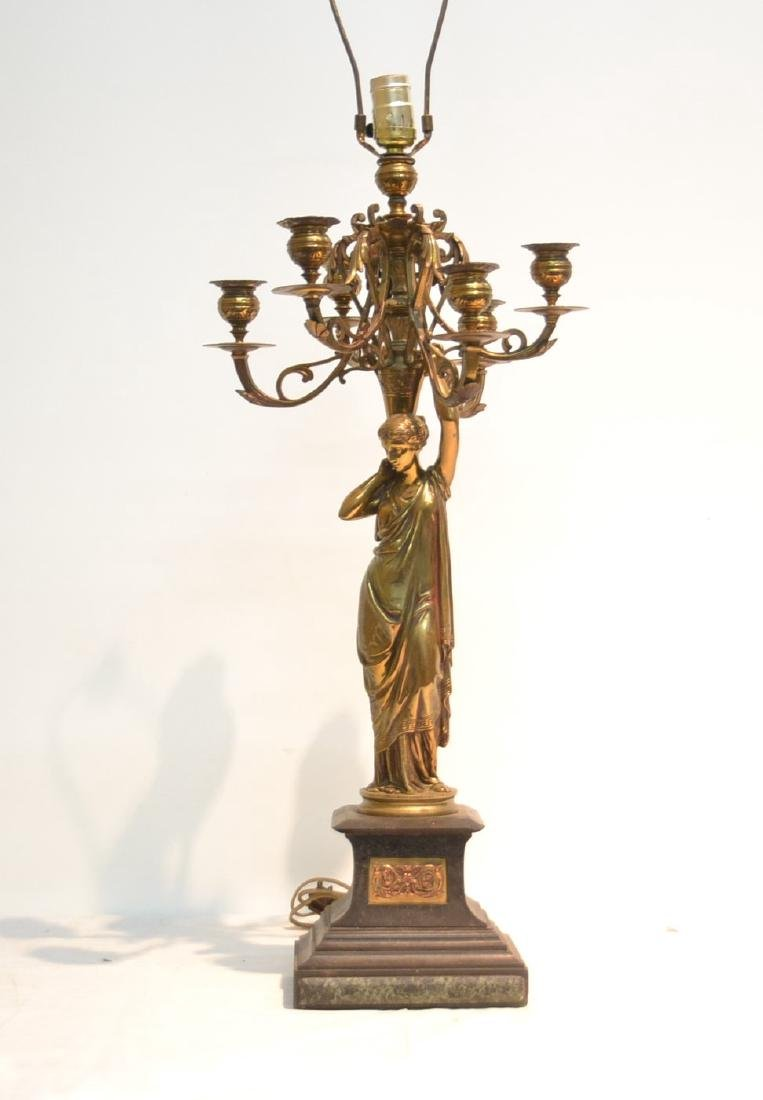 6-LIGHT BRONZE CANDELABRA WITH NEO CLASSICAL