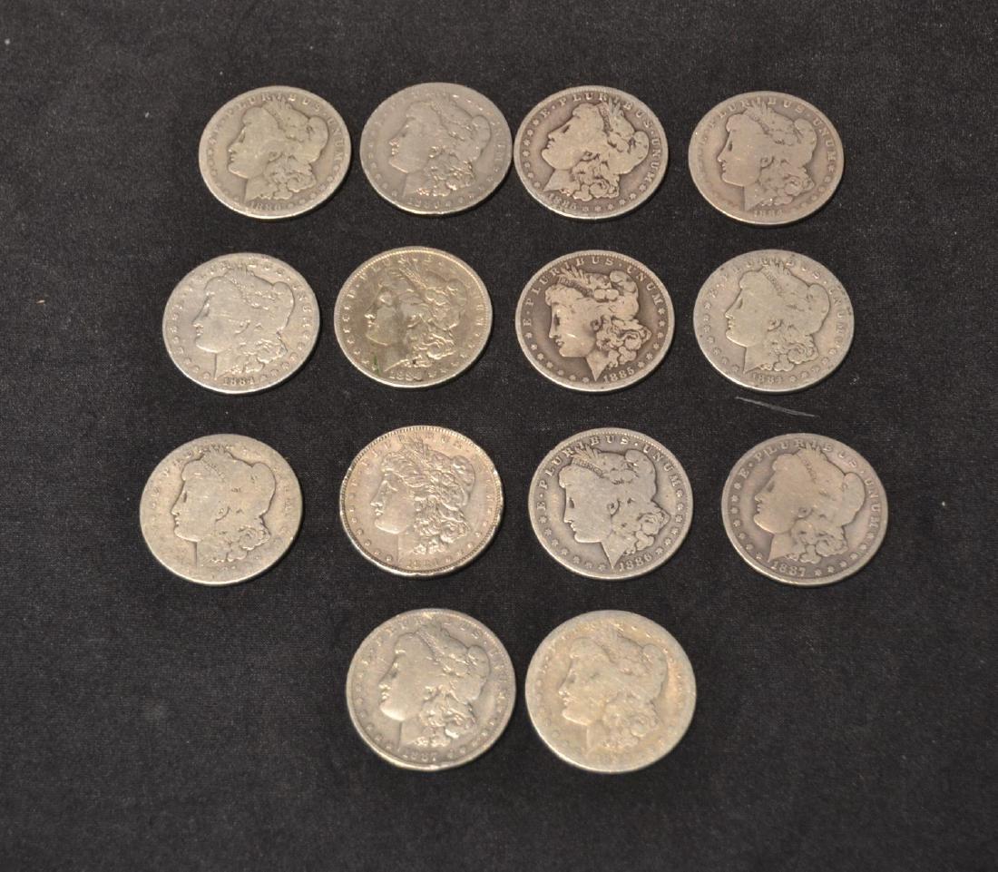 (14) MORGAN SILVER DOLLARS FROM 1884-1888